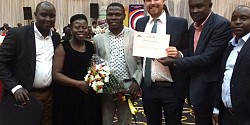 Adam Sweetman at the Uganda Investment Authority Awards ceremony where Devenish was highly commended