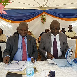 Honourable Vincent Ssempijja, Minister of Agriculture, Animal Industry and Fisheries and Honourable Earnest Kiiza, Minister of State for Bunyoro Affairs at the official launch